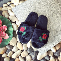 Flower Stylish Flat Slippers [11716827599]