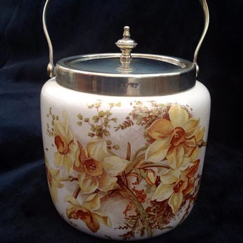 SALE W. Wood & Co. Antique Porcelain Silver Plate mounted (E.P.N.S.) Biscuit Barrel / Cookie Jar decorated with Daffodils, Signed