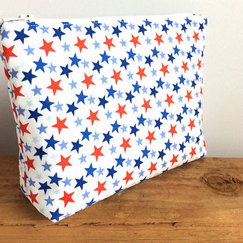 Makeup Bag - Military Gift - Military Wife - 4th of July - Independence Day Gift - Small Cosmetic Bag - Zipper Pouch - Star Bag