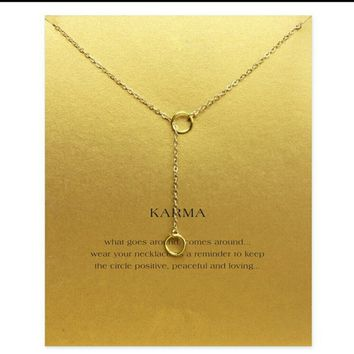 KARMA double circle lariat necklace NEW silver gol