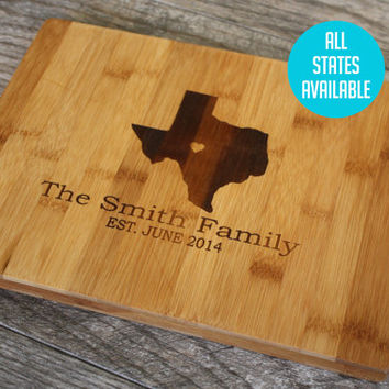 Home Is Where The Heart Is Cutting Board - Texas State with a heart at home- ALL STATES AVAILABLE