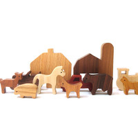 Waldorf Wooden Miniature Farm Toy Set 11 Pieces Wood Farm Animal Vehicle Play Set