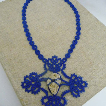 Tatting necklaces blue with the adder stone  -  amulet- talisman for good luck - natural talisman.