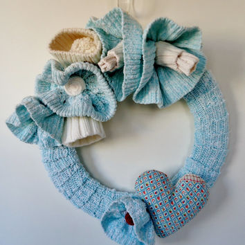 Upcycled Cotton Sweater Wreath Aqua Blue and White Knitted Flower Wreath with Heart