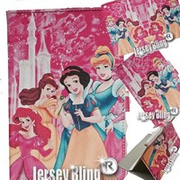HOT Pink PRINCESS Case & Gift Set iPad 2/3/4 Faux Leather PVC Case with FREE Stylus & Disney Princess Gift Item
