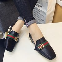 Women Fashion Personality Double G Buckle Pearl Square-toe Chunky Mid Heel Loafer Leather Shoes