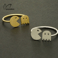 Gold or Silver Plated Pac-Man Ring