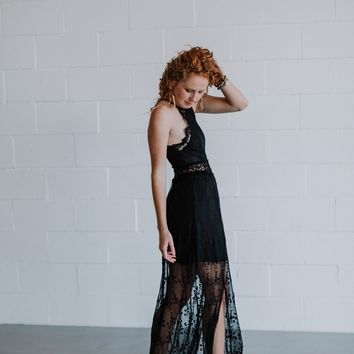 Camille Embroidered and Lace Maxi Dress - Black