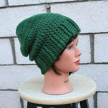 Emerald Green Crocheted Slouch Hat