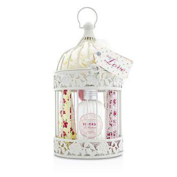 Heathcote & Ivory Vintage Enchanted Birdcage with Assorted Pampering Treats: 2x Hand Cream 100ml/3.38oz + Body Cream 250ml/8.45oz + 4x Heart Soap 18g + Puff Ladies Fragrance