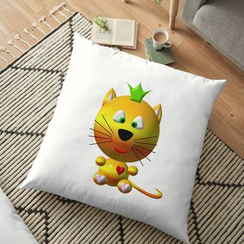 'Cute cat wearing a crown' Floor Pillow by Artist4God