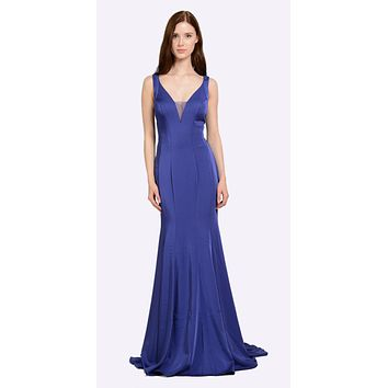 V-Neck and Back Royal Blue Evening Gown Sleeveless