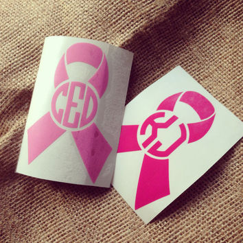 Breast Cancer Ribbon Decal Car Decal Monogram Decal Monogram Vinyl Vinyl Decal Monogram Gift Monogram sticker Car sticker Car Initials