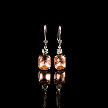 Crystal Earrings. Swarovski Crystal & Vintage Octagon Glass Stone Earrings. Pink Stone Dangle Earrings. Bridal Earrings. Bridesmaid Gift