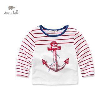 DB3428 dave bella spring baby boy cotton sailor t-shirt infant clothes toddle t shirt boys top high quality  anchor striped tee