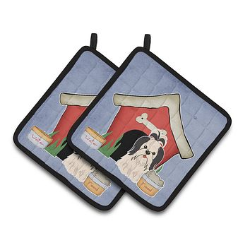 Dog House Collection Shih Tzu Black White Pair of Pot Holders BB2842PTHD