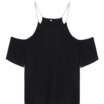 Sexy Ladies Clothing Women T-shirt Off Shoulder Short Sleeve Tees Summer Style Tops Neck Chain Decoration Solid T-shirt SV020318