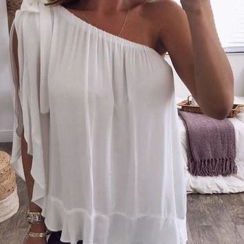 White Draped Asymmetric Shoulder Sweet Going out T-Shirt