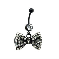 14G Black Bow Dangle Belly Ring With Stones Belly Button Navel Ring Piecing Jewelry Free Retainer
