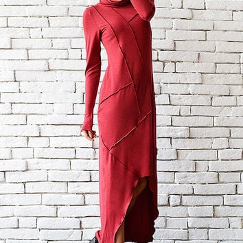 Long Loose Dress/Casual Red Dress/Asymmetric Dress/Extravagant Long Sleeve Tunic/Red Tunic Dress/Comfortable Long Short Dress/Red Kaftan