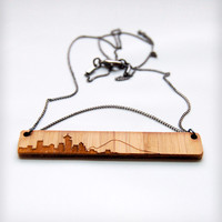 Etched Seattle Skyline Necklace