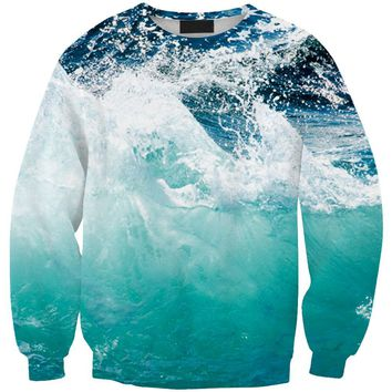 Pullover Jumper Turquoise Ocean Water Sportswear Print 3D Hoodie Men Women Cartoon Sweatshirt Harajuku 3D Clothing Tops R3142