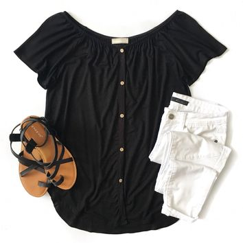 Black Off Shoulder Button Down Top
