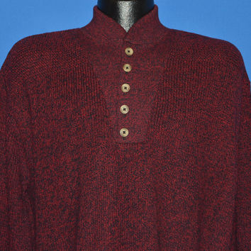 80s LL Bean Red Heathered Sweater Large