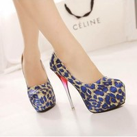 Women's Gradient High Heels Platform Stilettos Satin Leopard Printed Pump Shoes