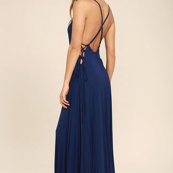 Ever Amazed Navy Blue Lace-Up Maxi Dress