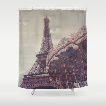 Paris Eiffel Tower shower curtain - bathroom decor