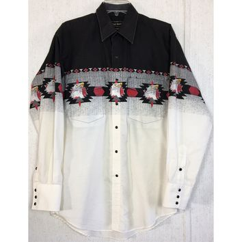 High Noon Bald Eagle Western Shirt Pearl Snap Cowboy Red Aztec Tribal Rodeo M 32