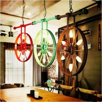 Wheel Metal Water Pipe Pendant Lights Fixtures Bar Retro Vintage Industrial Lighting Hanging Lamp Lampara Colgante Luminaire