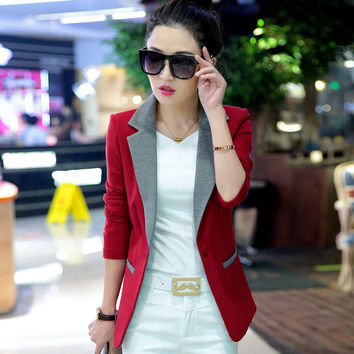 2016 spring blazer short jacket women slim spring and autumn casual long-sleeve color block decoration blazer women jacket coat