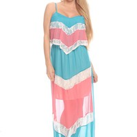 BLUE PINK CHIFFON COLOR-BLOCK LONG MAXI DRESS