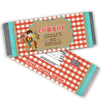 Vintage Cowboy Birthday Party Favor Candy Bar Wrapper - Western Birthday Party Favors - Boys Birthday - 2nd Birthday - Turquoise Chocolate