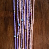 Gifts for hippies, wool dreadlocks, boho dreads, 5 double ended,pastel goth,purple, boho weddings, bohemian accessories