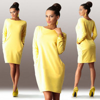 Fashion Women Dress O-Neck Long Sleeve casual Autumn Fall dress winter clothes for women's Clothing large size pocket lady dress