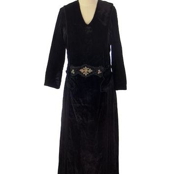 "Antique Dress Black Silk Velvet Gown Edwardian Downton Abbey Era Beaded Details 36"" Bust"