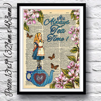 Reproduction dictionary art poster Alice in wonderland tea time. Wall art print alice quotation. Blue teapot and flowers book page decor.