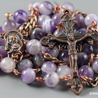 Wire Wrapped Rosary Chevron Amethyst Copper Rustic Catholic