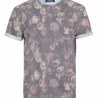BLACK FLORAL PRINT T-SHIRT - Men's T-shirts & Tanks - Clothing - TOPMAN USA