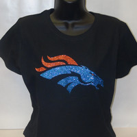 Denver Broncos Super Bowl  blue orange sparkle glitter bling T-shirt women