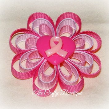 Pink Ribbon Mini Flower Hair Bow, Pink and Hot Pink Bow, Small Bow, Breast Cancer Bow, Pink Clippie, Pink Flower Bow, Cancer Awareness Bow