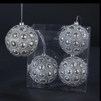 4 Christmas Ornaments - Ready-to-hang On Silver Cord