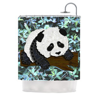 "Art Love Passion ""Panda"" Black White Shower Curtain"