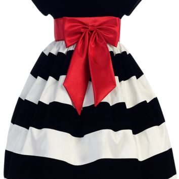 Black Velvet & White Taffeta Striped Girls Holiday Dress 3m-10