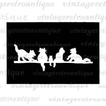 Cats Silhouette Cut Out Graphic Digital Image Download Printable Antique Clip Art Jpg Png Eps  HQ 300dpi No.3283