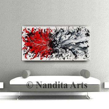 """RED White Abstract Painting, 48"""" Modern Wall Art original large painting on canvas, Contemporary Art, by Nandita Albright 48x24""""/122cmx61cm"""