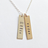 Custom Name Bar Necklace Vertical Bar Necklace Mixed Metal Gold Bar Name Necklace Grandma Jewelry Mixed metal Bars